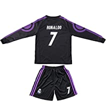 2015/2016 REAL MADRID #7 RONALDO KIDS AWAY NAVY LONG SLEEVE SOCCER JERSEY & SHORTS YOUTH SIZES