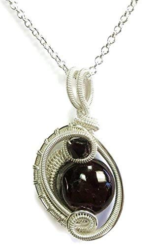 - Garnet & Sterling Silver Woven Circle Pendant with Swarovski Crystal and Chain