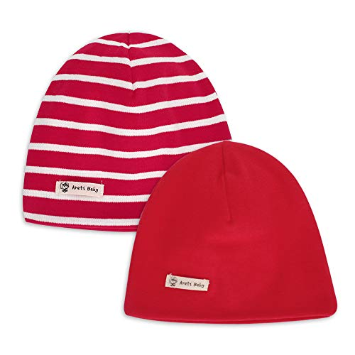 Infant Soft Hat Toddler Cotton Hat Kids Girls Casual Beanie Hat for 4-8 Years Baby 2-Pack Red
