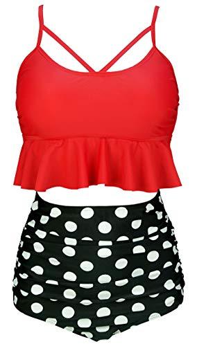 COCOSHIP Red & Black White Polka Dots Vintage Falbala High Waist Bikini Set Crisscross Hollow Out Swimsuit Cruise Swimwear S