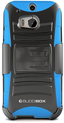 HTC One M8 Case, BUDDIBOX [HSeries] Heavy Duty Swivel Belt Clip Holster with Kickstand Maximal Protection Case for HTC One M8, (Blue) (Windows 8 Htc Phone Cover)