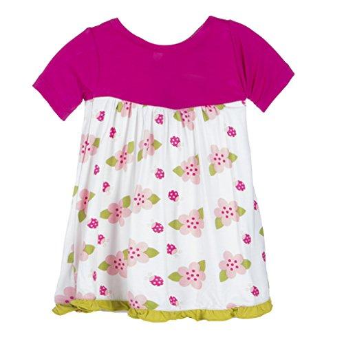 KicKee Pants Little Girls Print Short Sleeve Swing Dress, Natural ladybug, Newborn