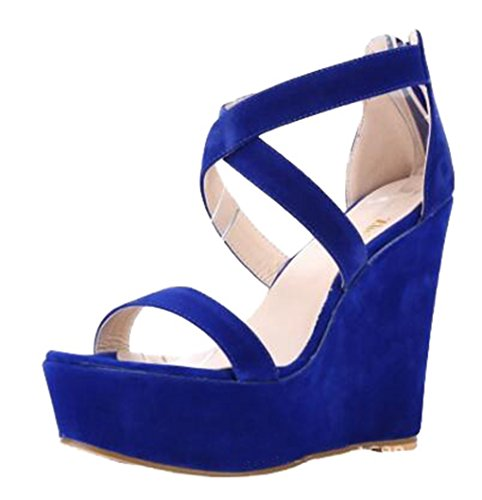 Dovaly Women Sandals Fashion Wedge Cross Strap Suede Platform Sexy Big Size 35-52 High Heels