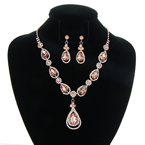 SP Sophia Collection Women's Elegant Crystal Teardrop Statement Necklace Dangle Earring Set in Rose Gold