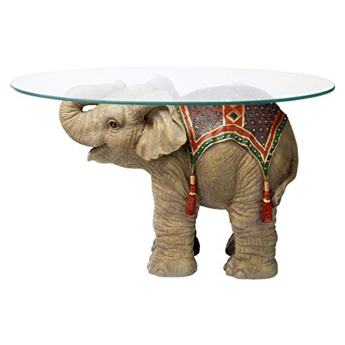 - Design Toscano Jaipur Elephant Festival Indian Decor Coffee Table with Glass Top, 30 Inch, Polyresin, Full Color