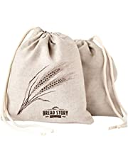 """Linen Bread Bags - 2-Pack 11 x 15"""" Ideal for Homemade Bread, Unbleached, Reusable Food Storage, Housewarming, Wedding Gift, Storage for Artisan Bread - Bakery & Baguette"""