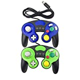 Bowink 2 Packs Classic NGC Wired Controllers for Wii Gamecube (Blue2 and Green2)