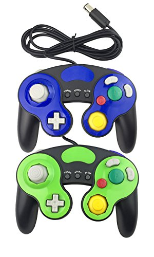 Poulep 2 Packs Classic NGC Wired Controllers for Wii Gamecube (Blue2 and Green2)