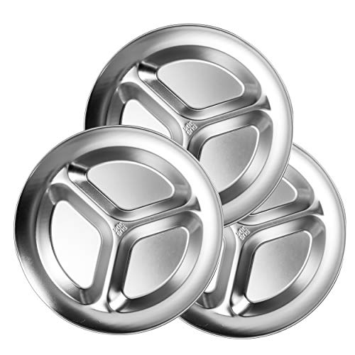 Bisgear 10.25 inch Stainless Steel Round Divided Plates Pack of 6 with Carabiner Lightweight BPA Free Sectioned Plates for Outdoor Camping Dishcloth and Mesh Travel Bag