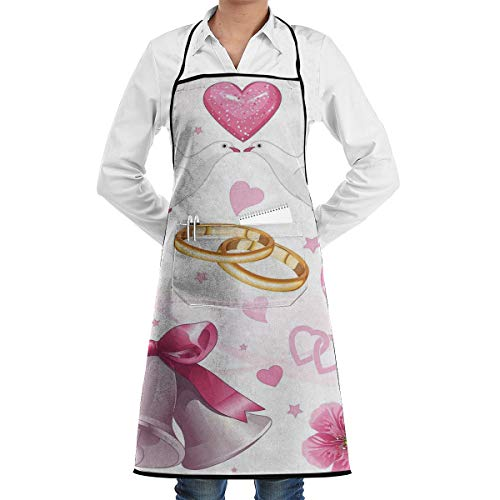Shepinqee Nutmix Wedding Decorations Wedding Themed Artwork Invitation Announcement Hearts Rings Birds Pink White Gold Cooking Adjustable Apron
