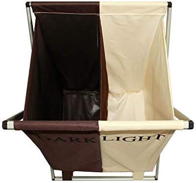 ランドリーバスケット 2個のオックスフォードアルミニウムチューブダブルグリッドを備えたハンドルとアルミニウムブラケットの取り外しおよび洗濯が可能な大型ランドリーバスケット (Color : White+brown, Size : Free)