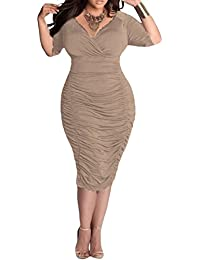 Pink Queen® Womens Plus Size Deep V Neck Wrap Ruched...