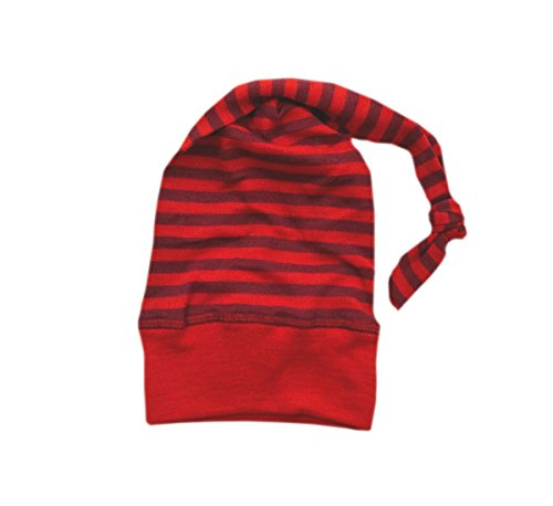 (Engel Hat Merino Wool Silk Baby Children boy Girl Organic Bonnet Striped 72 5543 (Red/Orchid))
