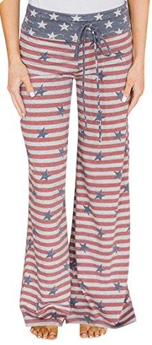 Sexymee Women Pajama, Lounge Wide Leg Pants, Casual Pants, Palazzo Pants, Cotton Yoga Pants, Pjs Pants, Floral Print High Waist Pants,Red Stripe,Small