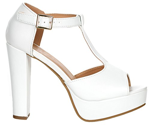 Top Moda Table-1 Women's peep Toe Platform Chunky Heel Closed Back Buckle T-Strap Nubuck Pumps -