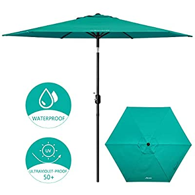 MOVTOTOP Patio Umbrella 9ft Outdoor Table Umbrella with Crank and Ventilation Weatherproof Cover, Tilt Thickened Pole and UV Protection, 6 Ribs for Pool, Porch, Outside Spaces - Turquoise