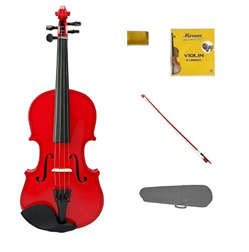 Merano 1/10 Size Red Violin with Red Bow, Case, Free Rosin and Extra Set of Strings for Beginners, Students, Gifts, Toys
