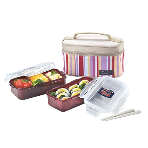 Lock&Lock Rectangular Pink Lunch Box Set BPA Free Food Containers with Leak Proof Locking Lids, 1.4-Cups