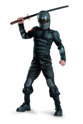 G.i. Joe Retaliation Snake Eyes Classic Muscle Costume, Black, Small