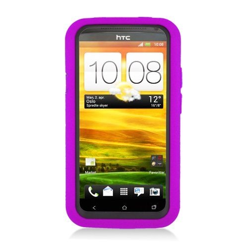 Eagle Cell PAHTCONEXSPSTBKPL Advanced Rugged Armor Hybrid Combo Case with Kickstand for HTC One X - Retail Packaging - Black/Purple
