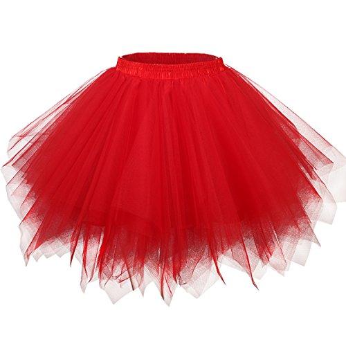 Girstunm Women's 1950s Vintage Petticoats Bubble Tutu Dance Half Slip Skirt Red 2XL ()