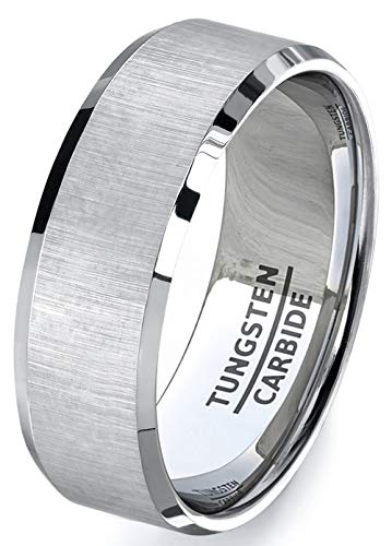 Hers Satin Tungsten (Duke Collections Mens Wedding Bands 8mm Tungsten Ring Satin Finish Beveled Edges Center Comfort Fit (8.5))