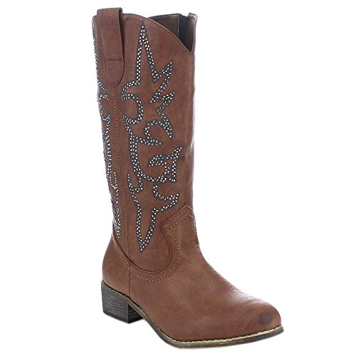 Spirit Moda Doris-1 Women's Fashion Chunky Heel Side Zip Western Cowboy Boots, Color:BROWN, Size:7 - Brown Cowboy Western Boots