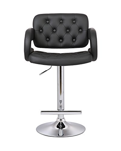 Cheap AC Pacific Diamond Tufted Contemporary Hydraulic Adjustable Swivel Bar Stool with Armrest and Cushion, 25″-33″, Black