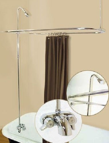 Clawfoot Bath Personal - (H&H) Add A Shower Converter Kit For Clawfoot Tub with Diverter Faucet & Rod Chrome