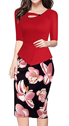 Minetom Damen Vintage Lange Ärmel 3/4 Hülse Kontrast Floral Blumenabend Bodycon Party Business Knielang Abendkleid Rot02 ipL4raR9O