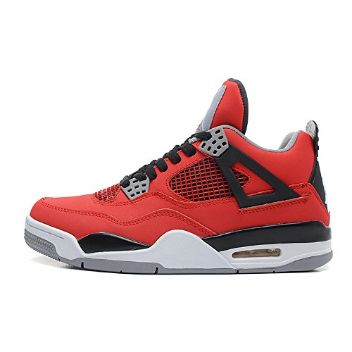Price comparison product image Air 4 Retro Men And Women Leather Basketball Sneakers Lightweight Breathable Trainer Shoes Fire Red / Black US8