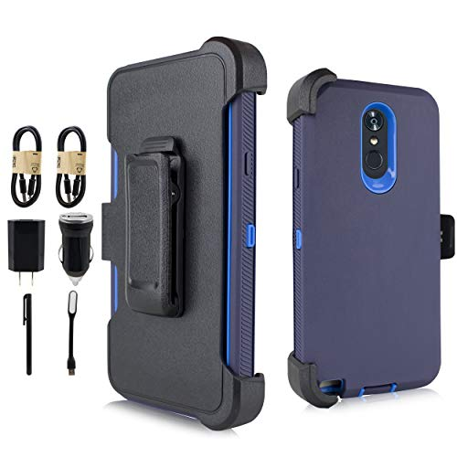 LG Stylo 4 Case, LG Q Stylo Case, Heavy Duty Armor Case, Belt Clip Holster w/ [Built-in Screen Protector] Shockproof Cover for LG Stylo 4 Plus/LG Stylus 4 [Value Bundle] (Blue)