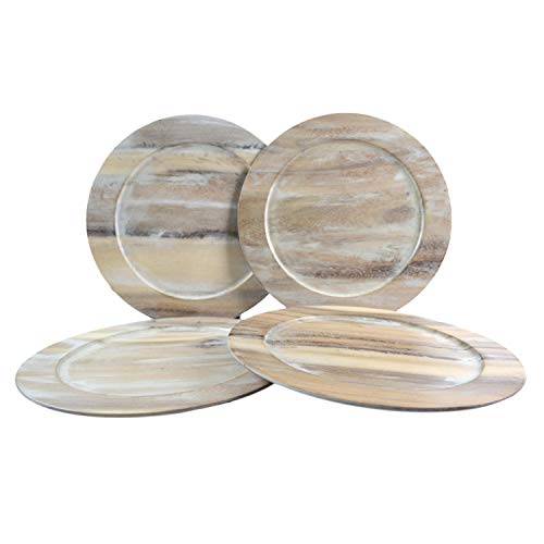 RoRo Classic Acacia Wood Charger in Whitewash Stain, 14 Inch Set of 4 -