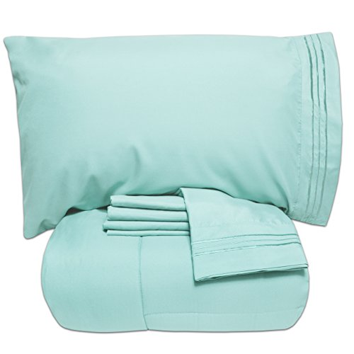 Sweet Home Collection 4 Piece Comforter Set Bag Solid Color All Season Soft Down Alternative Blanket & Luxurious Microfiber Bed Sheets, Twin XL, Aqua (Down In Bag Alternative A Bed)