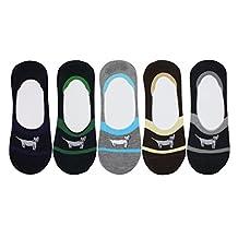 Cansok Men's 5 Packs Boat Liner Low Cut No Show Non-Slip Cotton Socks