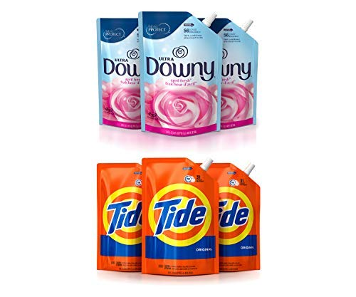 Ultra Downy April Fresh Liquid Fabric Conditioner, 3 Pack of 48 oz. Pouch Bundle with Tide Liquid Laundry Detergent Smart Pouch, Original Scent, HE Turbo Clean, 3 Pack of 48 oz. Pouch