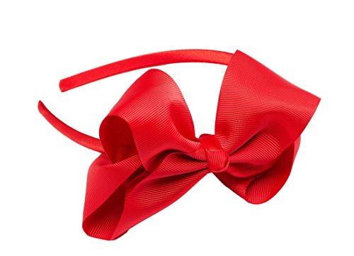 [Teachers Pet Grosgrain Ribbon Bow Headband, Red] (Teachers Pet School Girl Costume)
