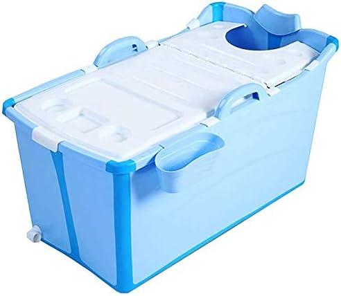 KJRJCQ 折り畳み式のバスタブプラスチック製ポータブルバスタブ断熱浴槽ふた太いなしキッド/アダルト使用するためのバケツシャワー (Color : Blue)