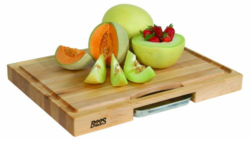 John Boos Newton Prep Master Maple Wood Reversible Cutting Board with Juice Groove and Pan, 24 inches x 18 Inches x 2.25 Inches by John Boos