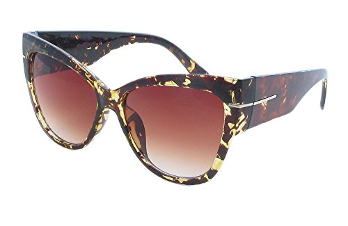 - AStyles - Super Oversized Cat Eye Thick Frame Designer Gradient Sunglasses Anoushka (Tortoise, Brown)