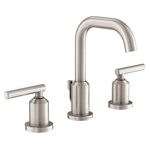 (Moen WS84229SRN Gibson Two-Handle High Arc Bathroom Faucet, Spot Resist Brushed Nickel)