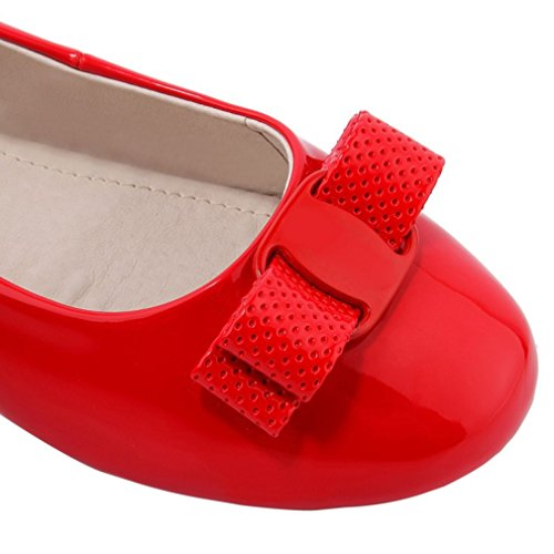 ENMAYER Womens Patent Leather Material Shoes Flats Mary Janes Shoes Flats Red 3MEhMm0