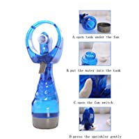 TopFunny Deluxe Battery-operated Handheld Water Misting Spray Fan (Blue)