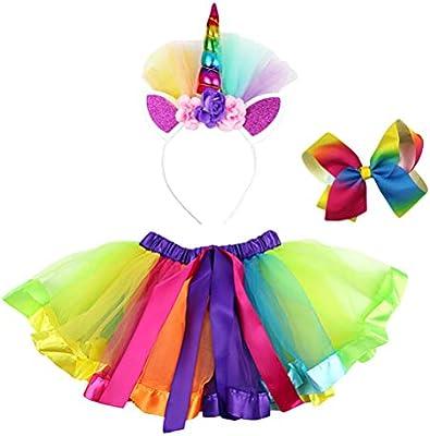 TENDYCOCO 3 Piezas Disfraz de Unicornio para Niñas Falda Tutú de ...