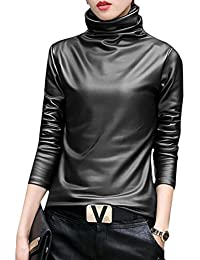 Faux Leather Turtleneck Tops Long Sleeve Blouse T-Shirt