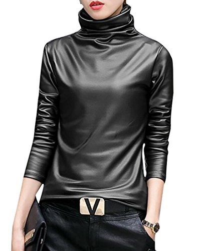 SELX-Women Faux Leather Turtleneck Tops Long Sleeve Blouse T-Shirt Black US L