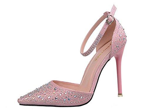 Mariage Bride Talons Escarpins Haute Cheville Princesse Boucle Pointu wealsex Sandales Chaussure Bout Rose Aiguilles Strass t17gncYq