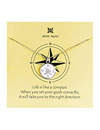 Annis Munn Compass Necklace - 925 Sterling Sliver Compass Pendant Necklace,Christmas Graduation Jewelry Birthday Gift
