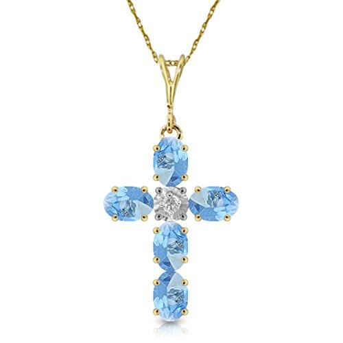 Topaz Cross Blue Peridot - 1.75 CTW 14k 22