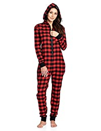Ashford & Brooks Women's Flannel Hooded One Piece Pajama Union Jumpsuit